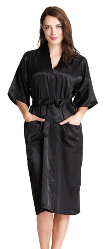Aibrou Women's Kimono Robe Dressing Gown Long Classic Satin Wedding Nightwear