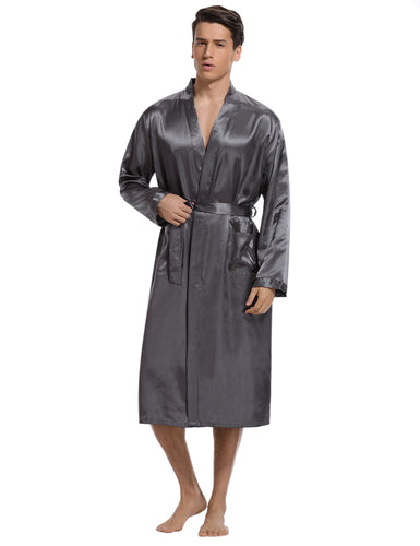 Men's Satin Robe Long Bathrobe Lightweight Sleepwear