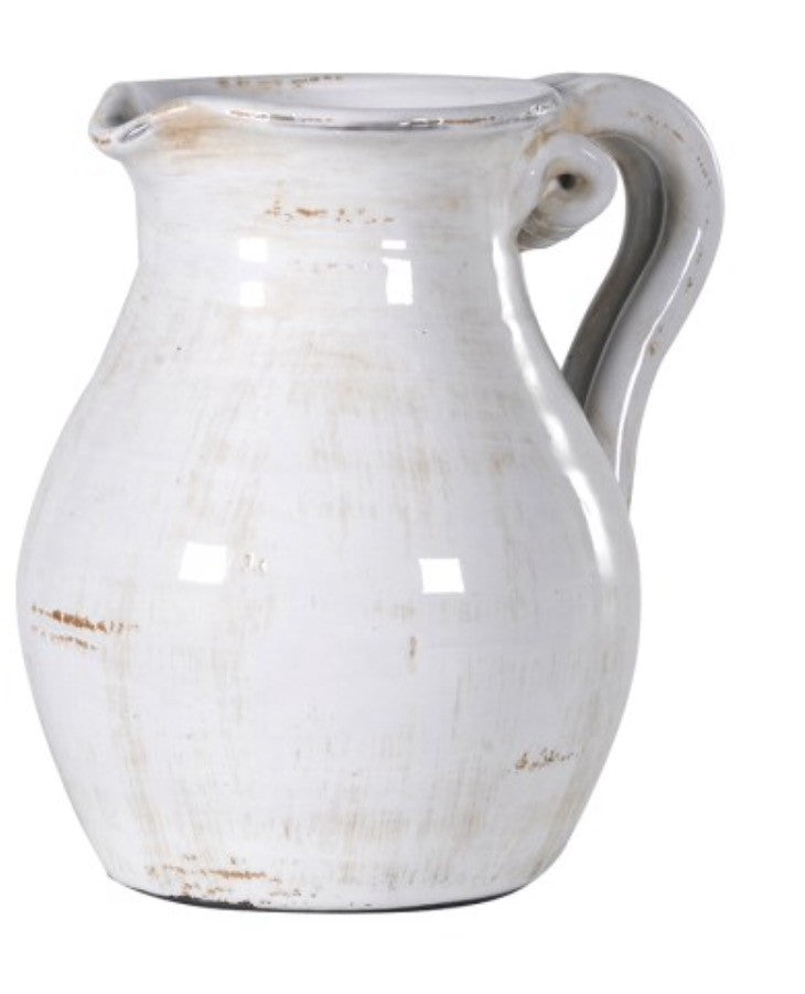 White Distressed Ceramic Jug
