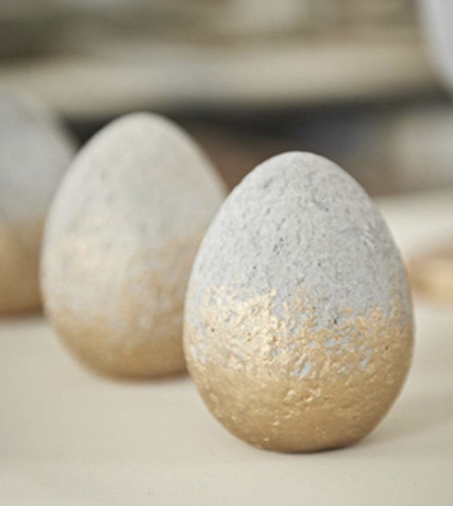 Concrete Egg with Gold Bottom