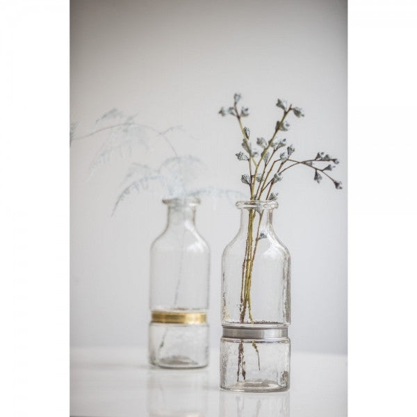 Medium Glass Bottle Vase in Silver