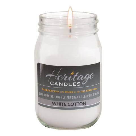 16-oz Canning Jar Candle - White Cotton
