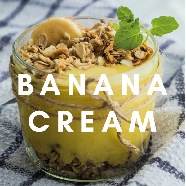 Banana Cream Flavour E-Liquid. Available in Three Flavour Strengths