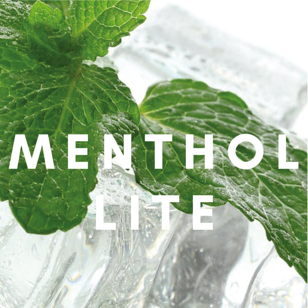 Green leaves placed on top of ice cubes with the word menthol written across the image.