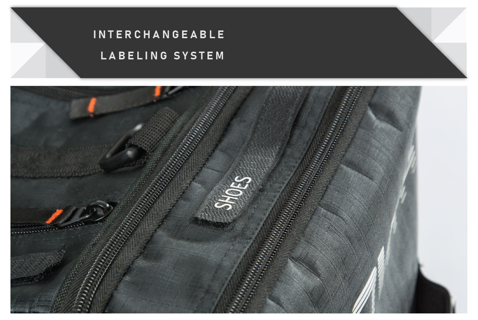 Cycling kit bag with interchangeable labels