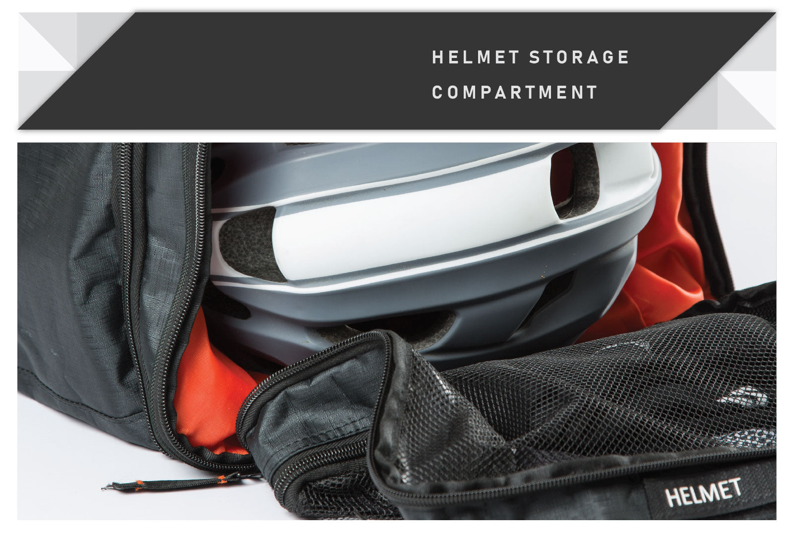 Cycling kit bag with dedicated helmet storage