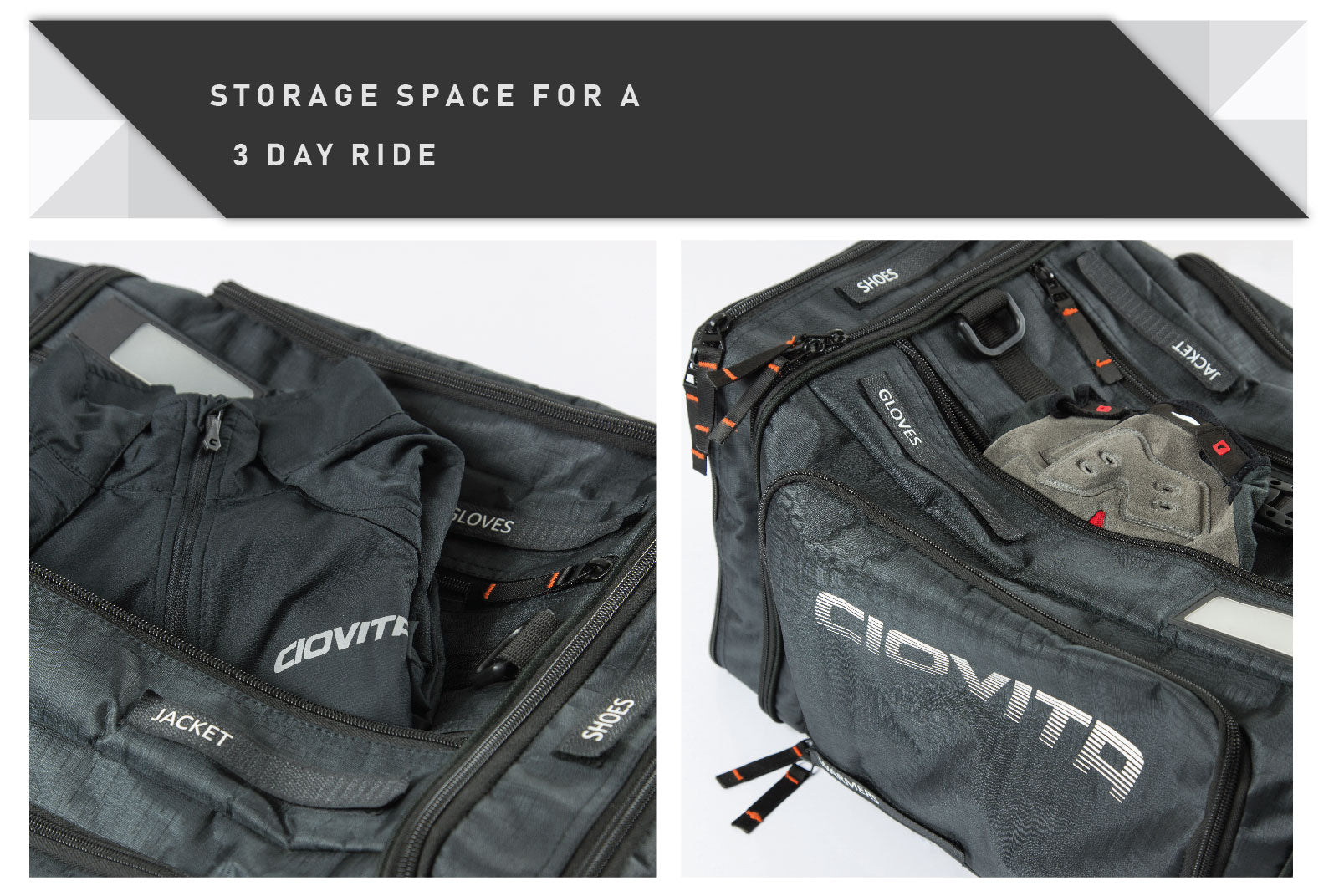 cycling kit bag with lots of storage space