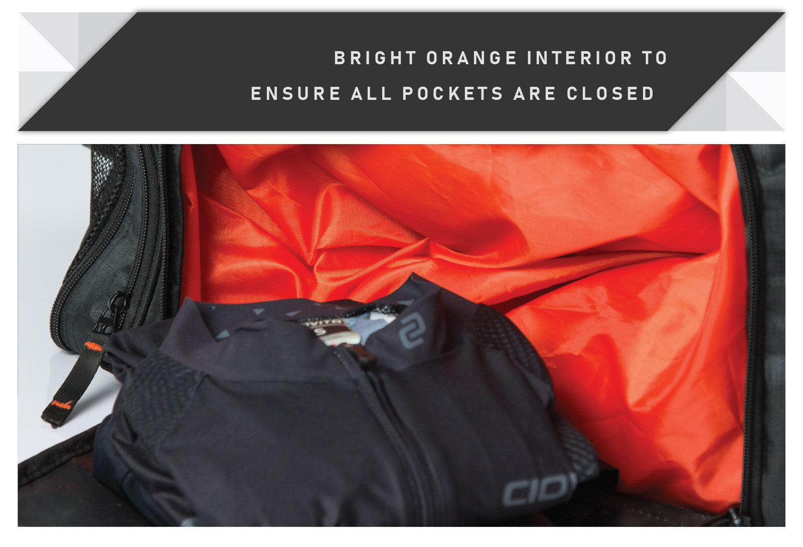 cycling kit bag bright orange interior
