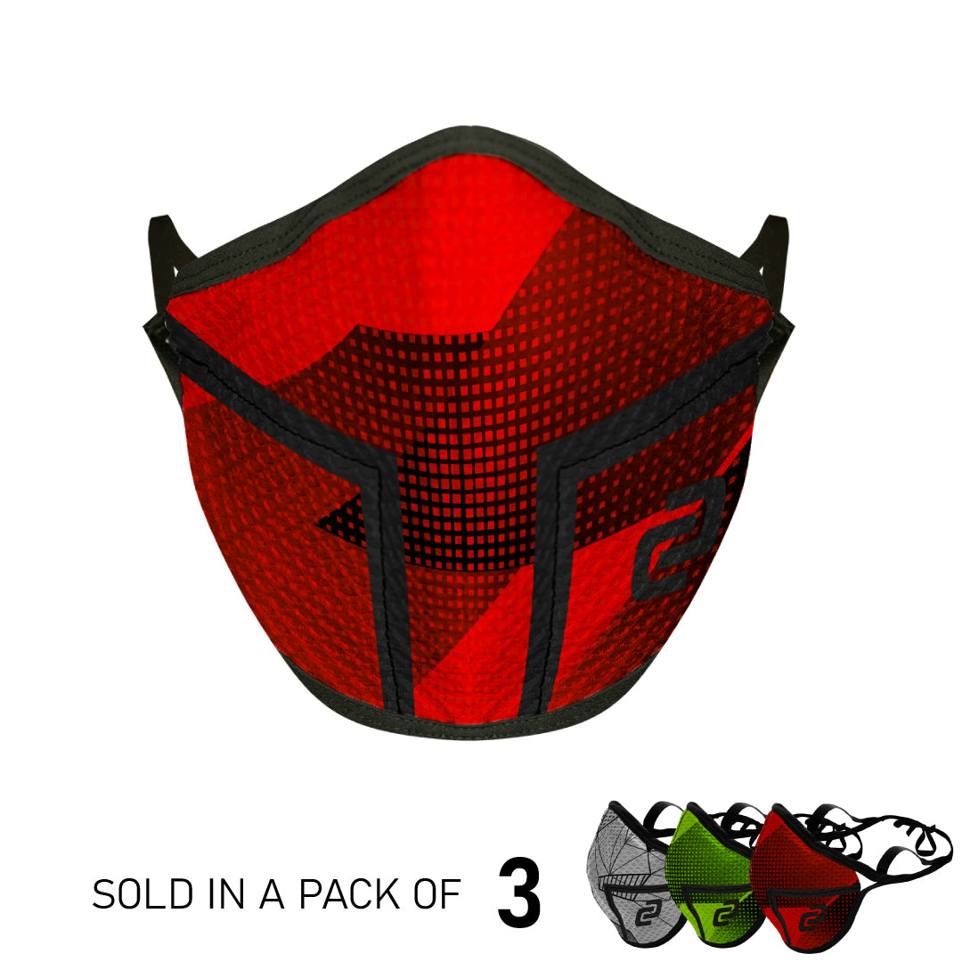 Multipack 4-Layer Sports Face Mask (3PK Red, Grey, Green)