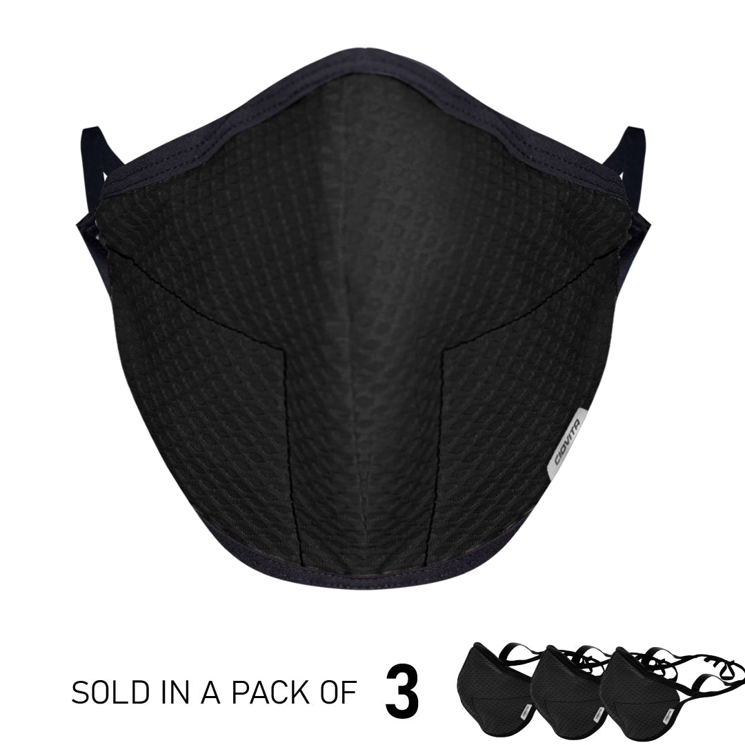 Black 4-Layer Sports Face Mask (3PK)