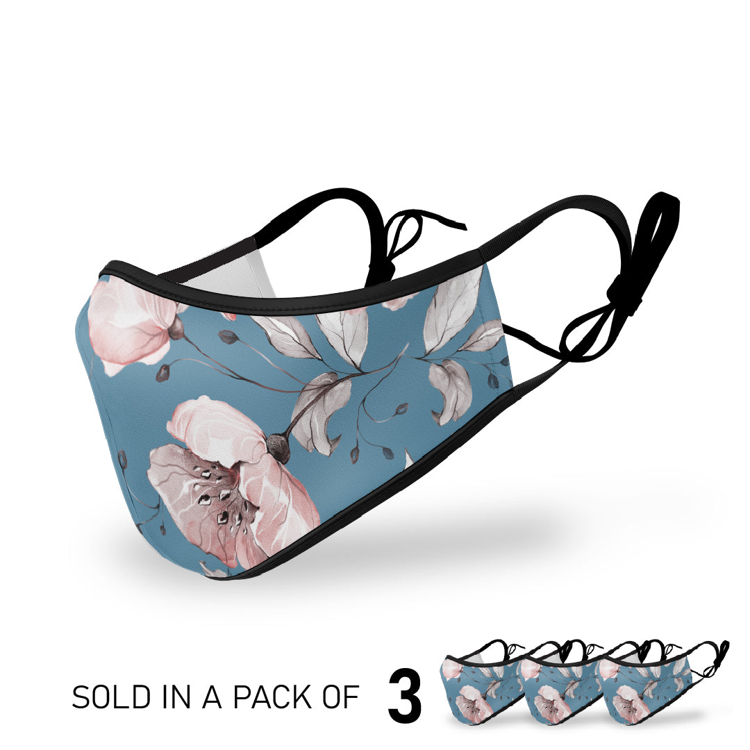 Floral Premium Printed Face Mask (3PK)- Filters Included