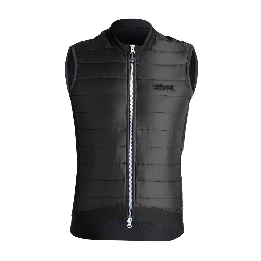 black ladies cycling gilet with quilted fleece