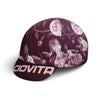 cycling cap or casquette with purple floral print