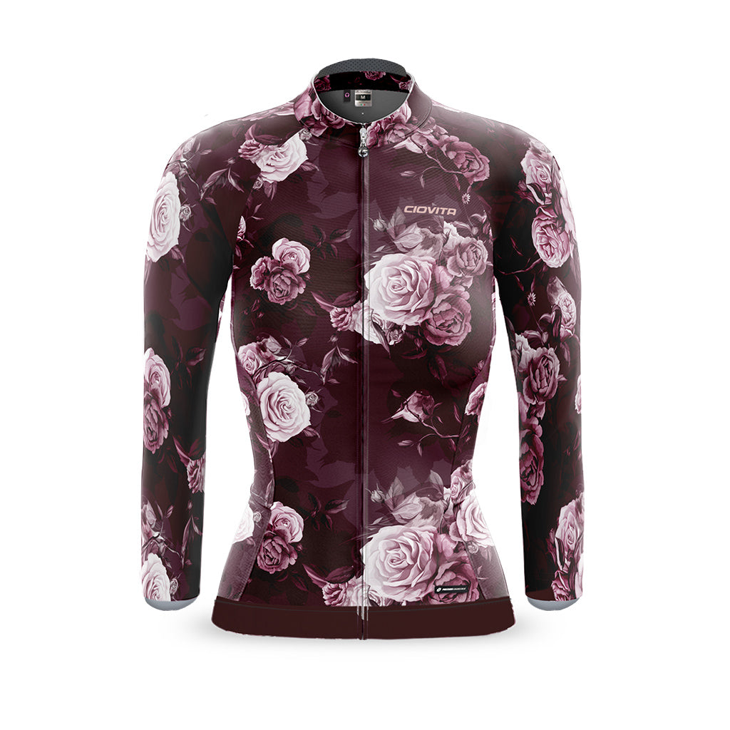 ladies lava cycling jacket with botanical print