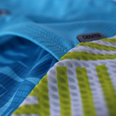blue ladies sport fit cycling jersey pocket reflector