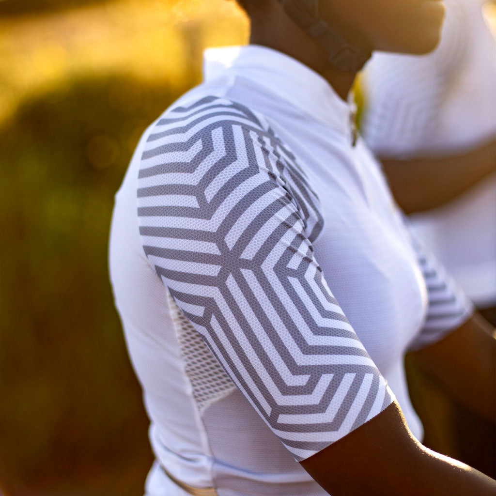 ladies white cycling jersey