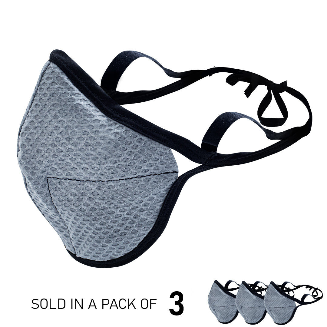 Grey 4-Layer Sports Face Mask (3PK)