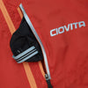 ladies red windproof waterproof stowaway cycling jacket pouch