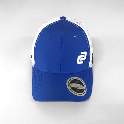 Blue & White Curved Peak Tech Mesh Snapback Cap