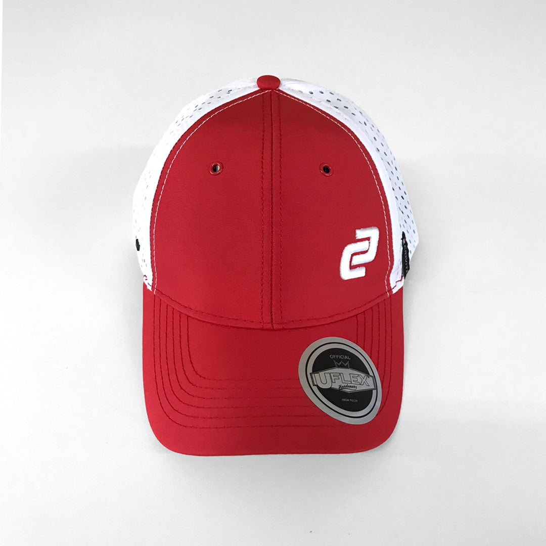 Red & White Curved Peak Tech Mesh Snapback Cap