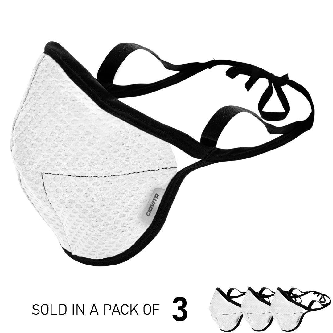 White 4-Layer Sports Face Mask (3PK)
