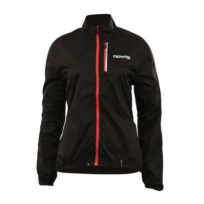 black ladies windproof waterproof fold up cycling jacket