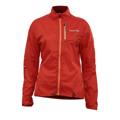 ladies red windproof waterproof stowaway cycling jacket