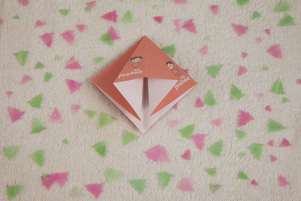 Step 9: Lift the flap up and spread open from the inside. Flatten the middle fold out and fold the sides, all flat.