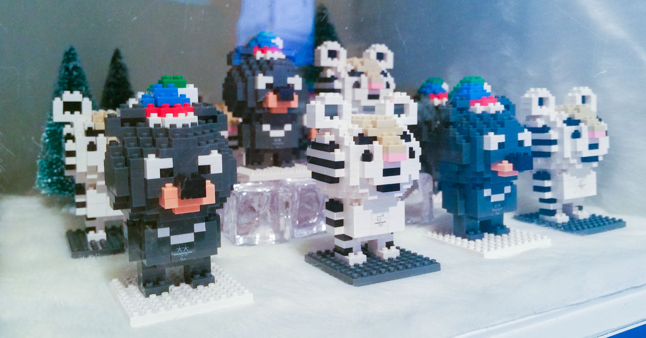 The mascots Soohorang and Bandabi made with mini legos
