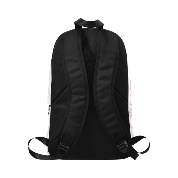 Multi-pocket Fabric Backpack showing back panel and bag straps