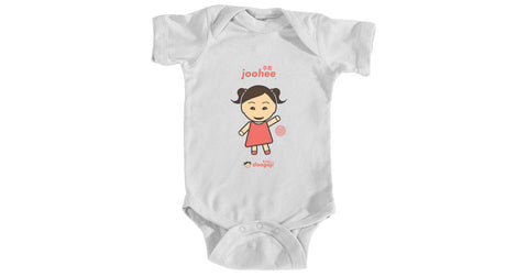 Infant bodysuit with Joohee logo, character, hyoong bae and Doogaji logo