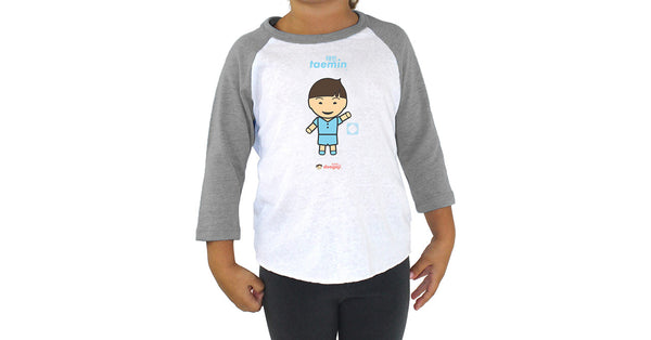 Toddler 3/4 Sleeve Raglan with Taemin logo, character, hyoong bae and Doogaji logo