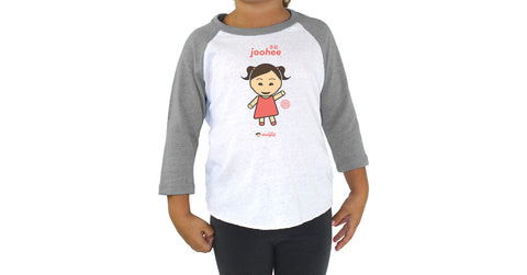 Toddler 3/4 Sleeve Raglan with Joohee logo, character, hyoong bae and Doogaji logo