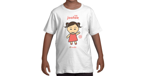 Youth T-shirt with Joohee logo, character, hyoong bae and Doogaji logo