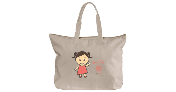 Canvas Zippered Tote with Joohee logo, character, hyoong bae and Doogaji logo
