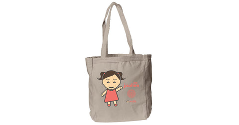 Canvas Book Tote with Joohee logo, character, hyoong bae and Doogaji logo