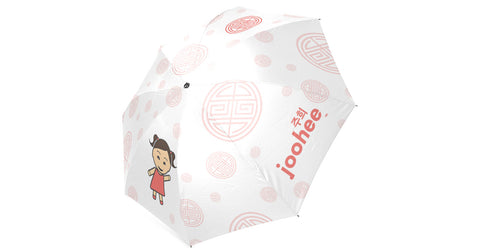 Umbrella with Joohee logo, character, hyoong bae and Doogaji logo
