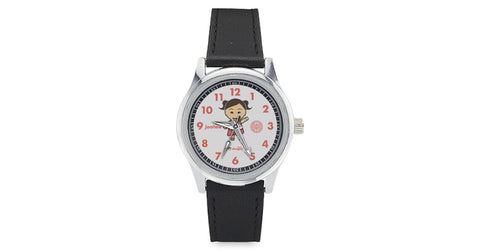Kid's Leather Strap Watch with Joohee logo, character, hyoong bae and Doogaji logo
