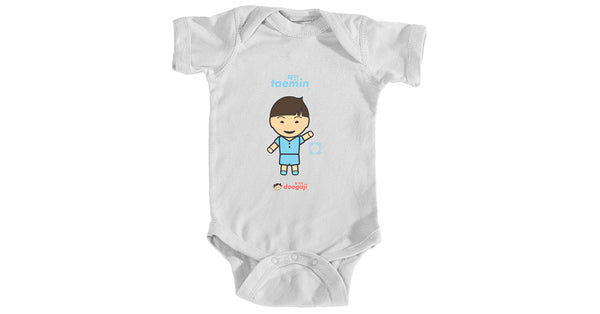 Infant bodysuit with Taemin logo, character, hyoong bae and Doogaji logo