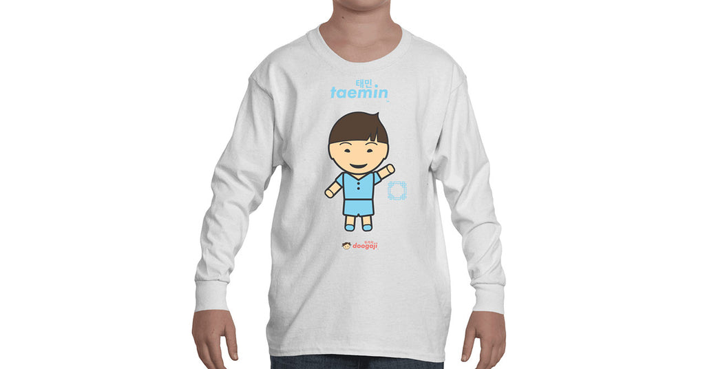 Youth Long Sleeve T-shirt with Taemin logo, character, hyoong bae and Doogaji logo