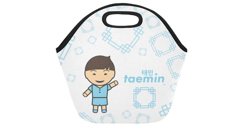 Neoprene Lunch Bag front view with Taemin logo, character, and hyoong bae