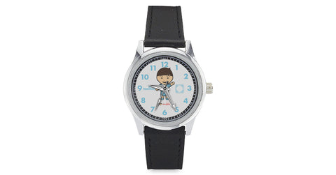 Kid's Leather Strap Watch with Taemin logo, character, hyoong bae and Doogaji logo