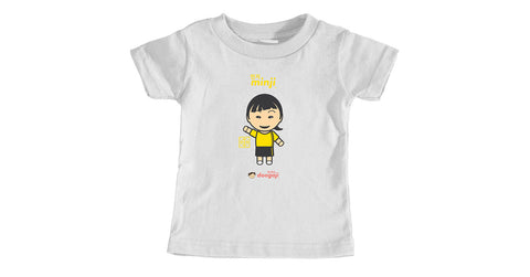 Infant t-shirt with Minji logo, character, hyoong bae and Doogaji logo