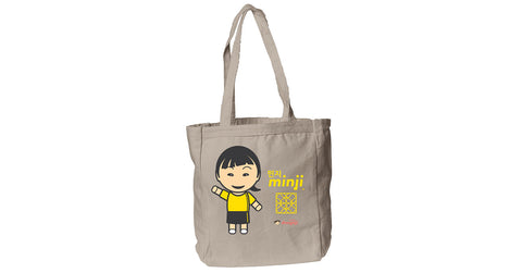 Canvas Book Tote with Minji logo, character, hyoong bae and Doogaji logo