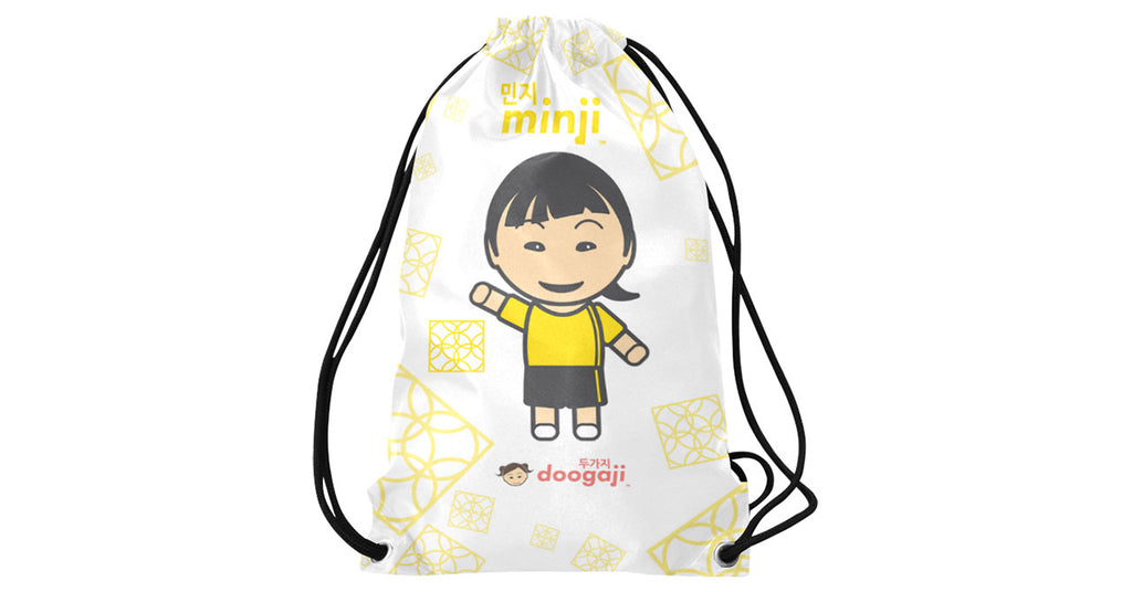 Basketball string bag with Minji logo, character, hyoong bae and Doogaji logo