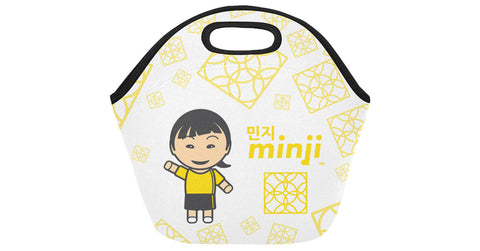 Neoprene Lunch Bag front view with Minji logo, character, and hyoong bae