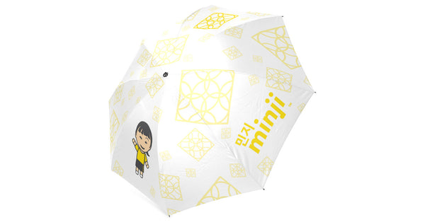 Umbrella with Minji logo, character, hyoong bae and Doogaji logo