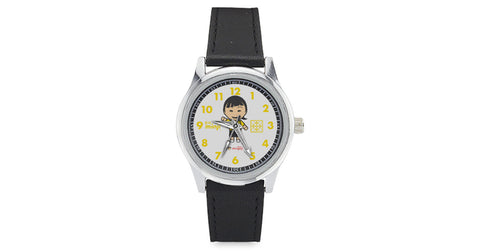 Kid's Leather Strap Watch with Minji logo, character, hyoong bae and Doogaji logo