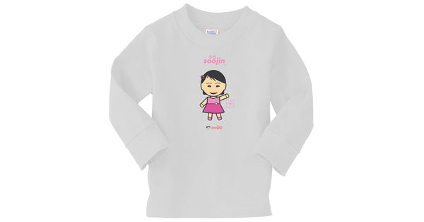 Toddler Long Sleeve T-shirt with Soojin logo, character, hyoong bae and Doogaji logo