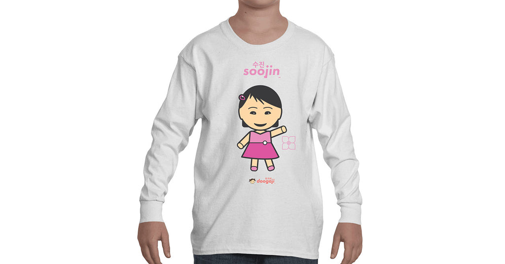 Youth Long Sleeve T-shirt with Soojin logo, character, hyoong bae and Doogaji logo